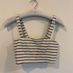 Ecote striped crop top button down back